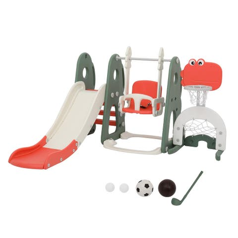 5-in-1 Toddler Slide and Swing Set Kids Play Climber Slide Playset