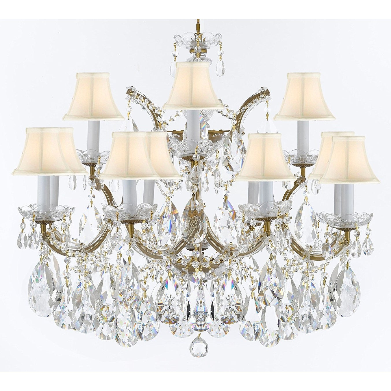 Image of: Shop Black Friday Deals On Maria Theresa Crystal Chandelier W Large Luxe Diamond Cut Crystals Overstock 18213639