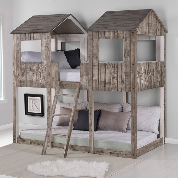Rustic White Pine Twin over Twin Tower Bunk Bed. Opens flyout.