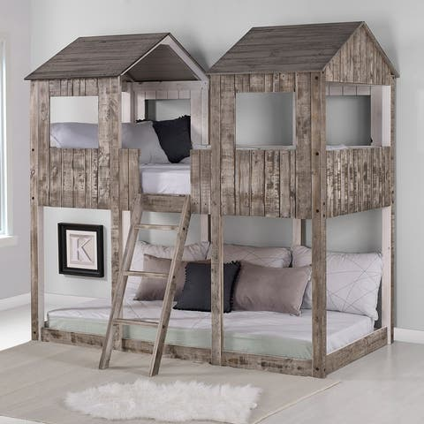 Rustic White Pine Twin over Twin Tower Bunk Bed