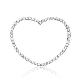 18K White Gold Diamond Heart Pendant 1.00ctw Diamonds 33mm Tall(i2,i3/i/j) By MidwestJewellery