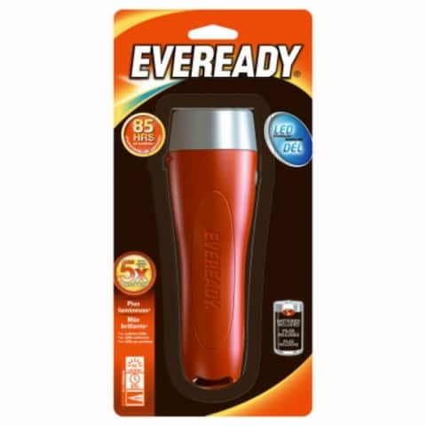 Eveready EVGP25S Ergonomic Design LED 2D Flashlight with Push Bottom Switch
