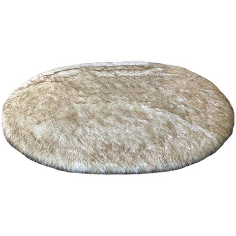 Spectrum Faux Sheepskin Oval Shape Shag Area Rug
