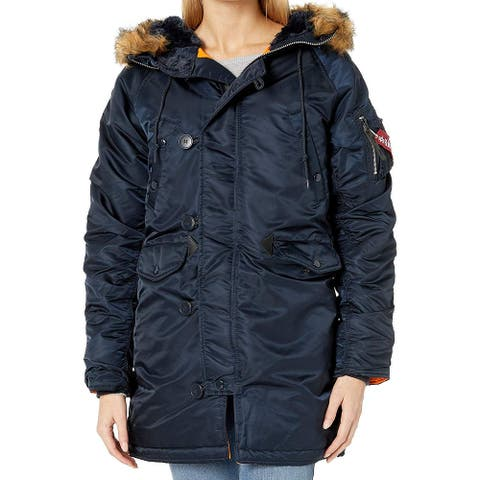Alpha Industries Womens Jackets Deep Blue Size XS Faux Fur Parka