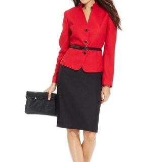 Tahari by ASL NEW Red Black Contast Women's 12 Belted Skirt Suit Set