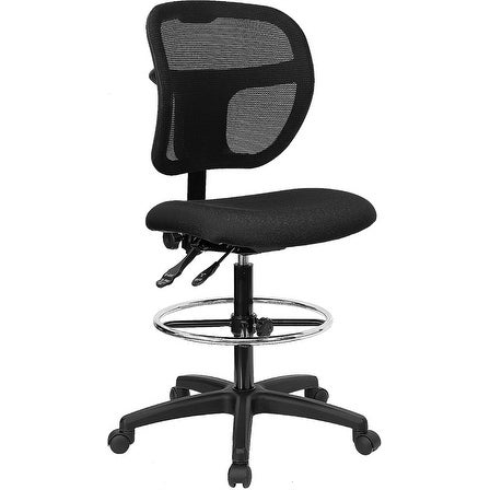 Offex Mid-Back Mesh Drafting Stool with Black Fabric Seat [OF-WL-A7671SYG-BK-D-GG]