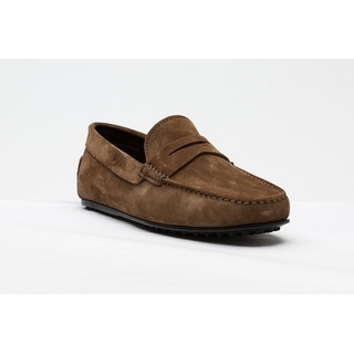 Tod's Men's Suede Mocassino City Gommino Loafer Shoes Brown