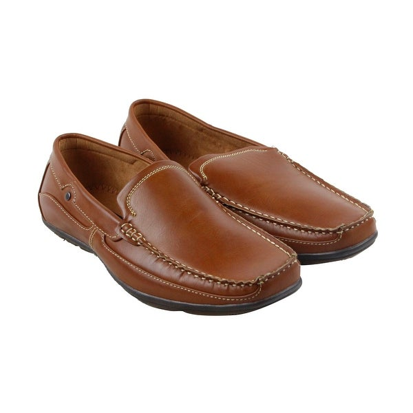 Steve Madden M-Need Mens Brown Leather Casual Dress Slip On Loafers Shoes