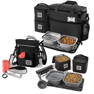 Bundle: MDG Day/Night Walking Bag (Black), MDG Week Away® Bag (Med/Lg Dogs) (Black) and MDG Dine Away® Set (Med/Lg Dogs) (Black)