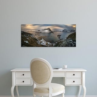 Easy Art Prints Panoramic Images's 'Surroundings of Offersoykamen at sunset, Lofoten, Nordland, Norway' Canvas Art
