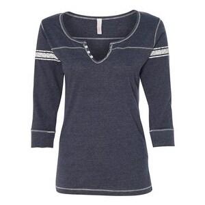 Women's Hailey Henley Three-Quarter Sleeve Shirt - Deep Blue - S