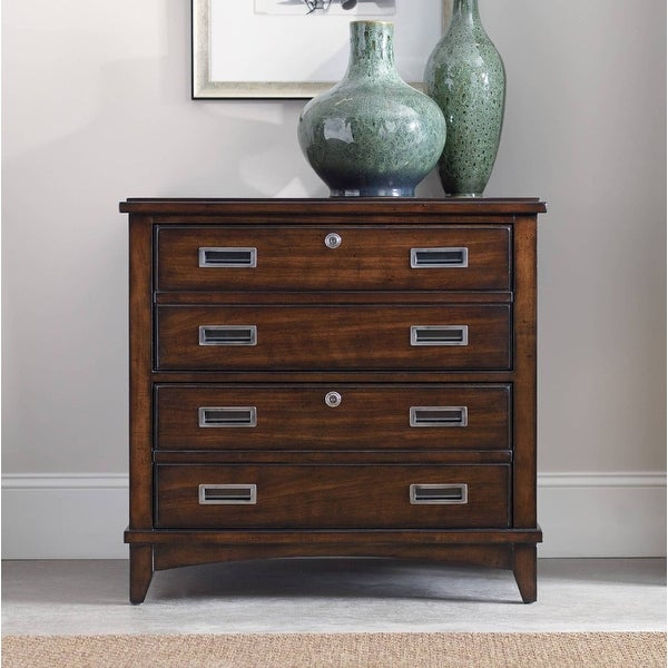 """Hooker Furniture 5167-10466 32"""" Wood 2 Drawers Hardwood Filing Cabinet from the Latitude Collection - Dark Wood Stain"""