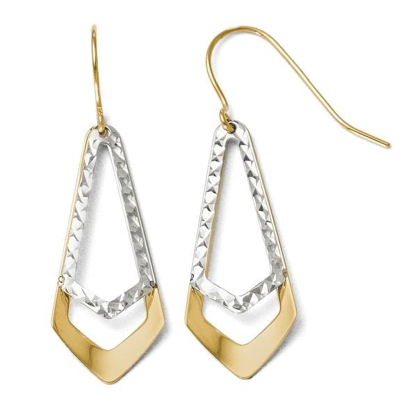 10k Two-Tone Gold Diamond Cut Shepherd Hook Dangle Earrings