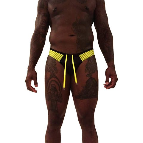 Myth Black Yellow Size Large L Colorblock Drawstring Swimwear Thong