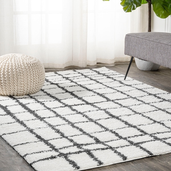 JONATHAN Y Arenal Geometric Grid Shag Area Rug. Opens flyout.