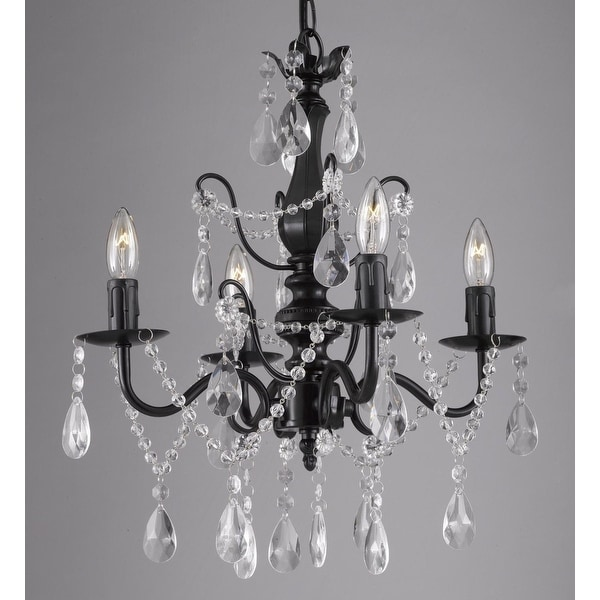 "Wrought Iron and Crystal 4 Light Black Chandelier H 14"" X W 15"" Pendant Fixture Lighting"