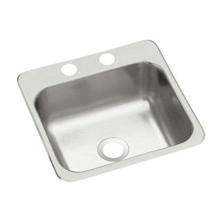 "Sterling B153-2 15"" Single Basin Drop In Stainless Steel Bar Sink with SilentShi - Stainless Steel"