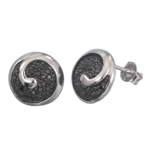 2/5 cttw Black Diamond Earrings in .925 Sterling Silver with Rhodium Plating