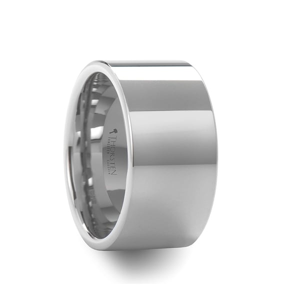 THORSTEN - STOCKTON Flat Style White Tungsten Ring - 12mm