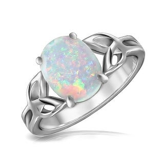 Large Ungradable Triquetra Celtic Knot Oval Created White Opal October Birthmonth Cocktail Ring 925 Sterling Silver Ring