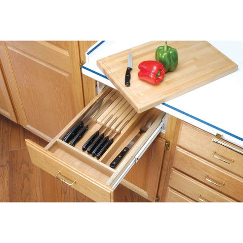"Rev-A-Shelf 4KCB-18 4KCB Series Combination Knife Holder and Cutting Board for 18"" Base Cabinet - - Natural Wood"