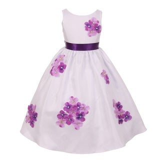 Kids Dream Girls Purple Shantung Flower Petals Special Occasion Dress 8-14