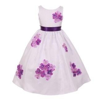 Kids Dream Little Girls Purple Shantung Flower Petals Special Occasion Dress 2-6