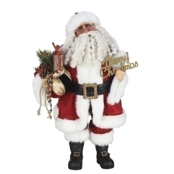 "24"" Deluxe Traditional Santa Claus with Sign and Gift Sack Christmas Figure - RED"