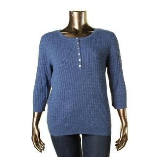 Karen Scott Womens Plus Cabel Knit Marled Henley Sweater - 1X