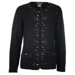 Sutton Studio Women's Embellished Crochet Cardigan Misses