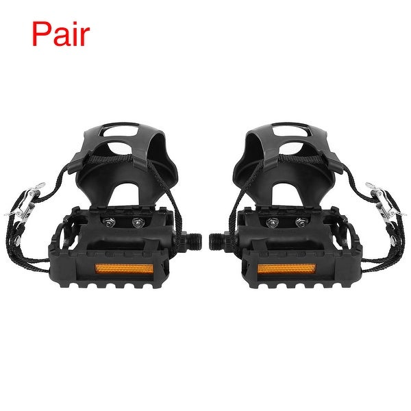 Pair Road Mountain Bike Pedals 9/16'' Spindle Platform w Toe Clips Foot Strap - Black. Opens flyout.