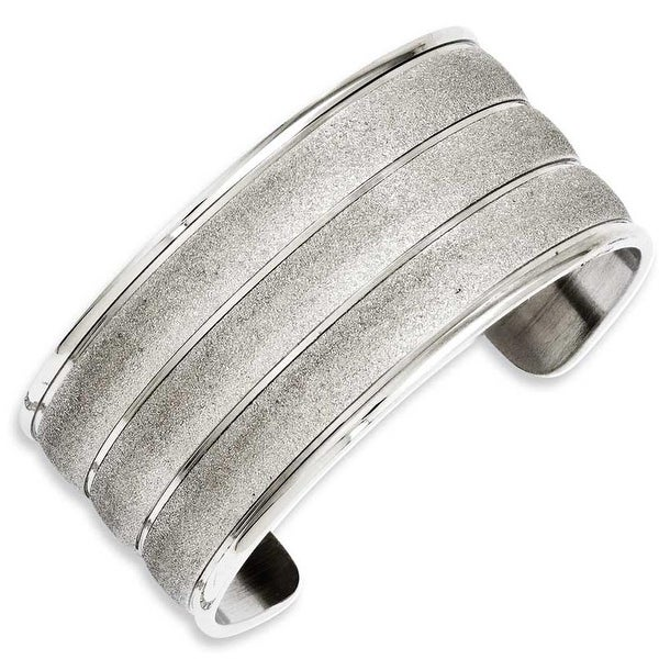 Chisel Stainless Steel Laser Cut Cuff Bangle