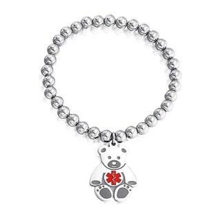 Bling Jewelry Kids Steel Teddy Bear Medical Alert ID Stretch Bracelet 6mm - Red