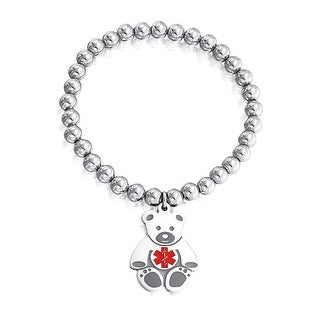 Bling Jewelry Kids Steel Teddy Bear Medical Alert ID Stretch Bracelet 6mm