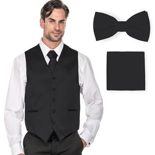 Porto filo Men's Plain Satin Fabric Tuxedo Vest (4Pcs Set Vest+Tie+Hanky+Bowtie)