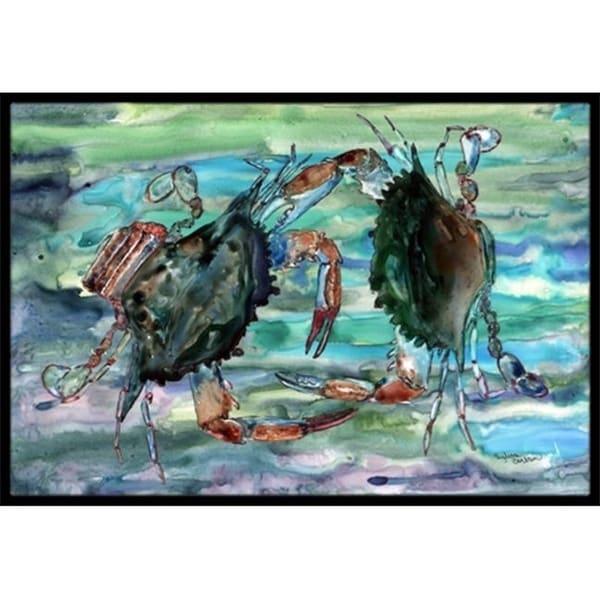 Carolines Treasures 8954MAT Watery Teal And Purple Crabs Indoor & Outdoor Mat 18 x 27 in.