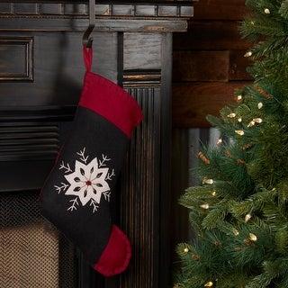 Christmas Snowflake Stocking Felt Embroidered 11x15 - Stocking 11x15