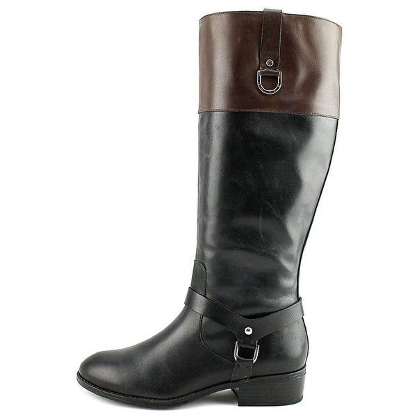LAUREN by Ralph Lauren Womens Mesa Leather Almond Toe Knee, BLK/DK BR, Size 10.0