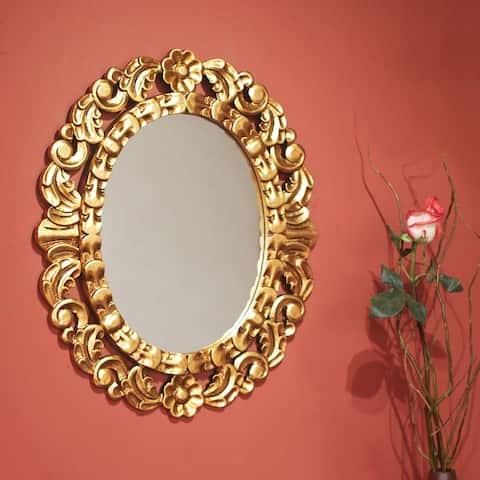 Handmade Mohena Bronze Leaf Gold Floral Accent Wall Mirror(Peru)