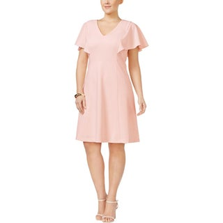 Calvin Klein Womens Plus Cocktail Dress Fit & Flare Short Sleeves - 16W