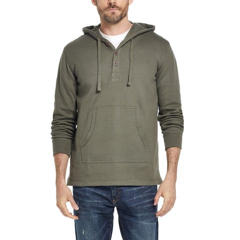 Weatherproof Mens Sweater Green Size Small S Hooded Waffle-Knit Pocket