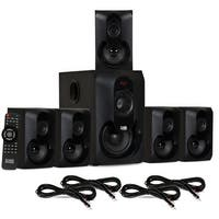 Acoustic Audio AA5301 Bluetooth Powered 5.1 Speaker System Home & 4 Ext. Cables