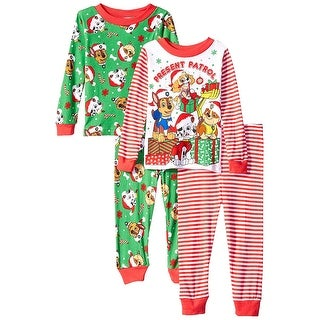 Paw Patrol Pajamas Boys' Toddler Holiday 4-Piece Cotton Sleep Set