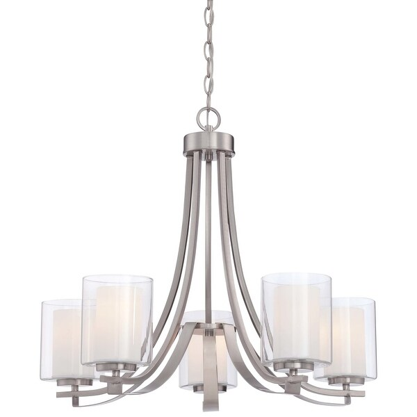 Minka Lavery 4105-84 5 Light Single Tier Chandeliers from the Parsons Studio Collection - Brushed nickel