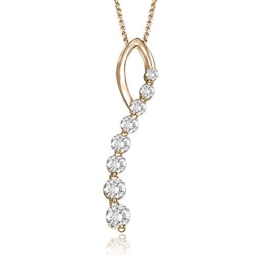 1.00 cttw. 14K Rose Gold Round Cut Diamond Journey Pendant