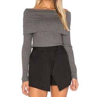 Line + Dot NEW Gray Womens Size Large L Ribbed Off-Shoulder Sweater