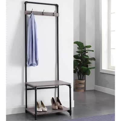 """black metal frame hall tree with wood bench and shoes storage for living room - 24"""" x 18.25"""" x 73.5"""""""
