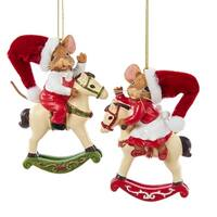 """Club Pack of 12 Mouseville Boy and Girl on Rocking Horse Christmas Ornaments 3.5"""" - RED"""