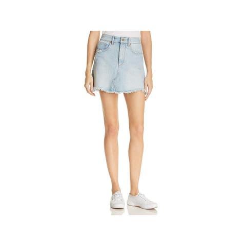 DL1961 Womens Georgia Mini Skirt Denim Light Wash