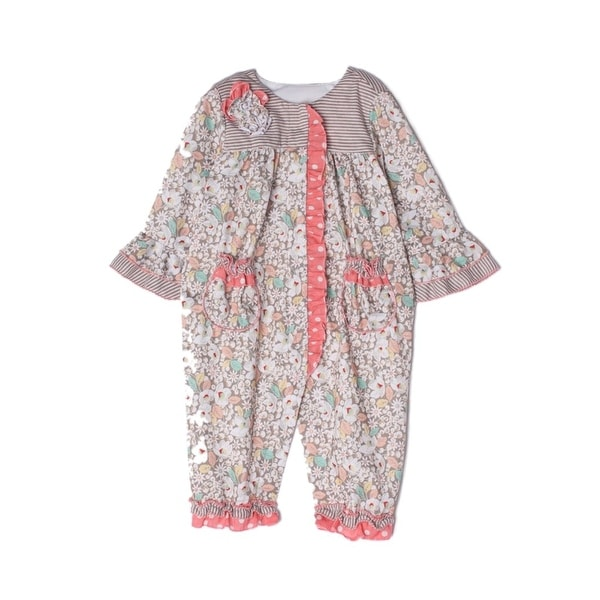 Isobella & Chloe Baby Girls Taupe Tuscany Striped Flower Pattern Romper